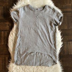Zara Trafaluc Small Tee T Shirt Gray Blue Stripes